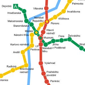 Prague metro Line A: green
