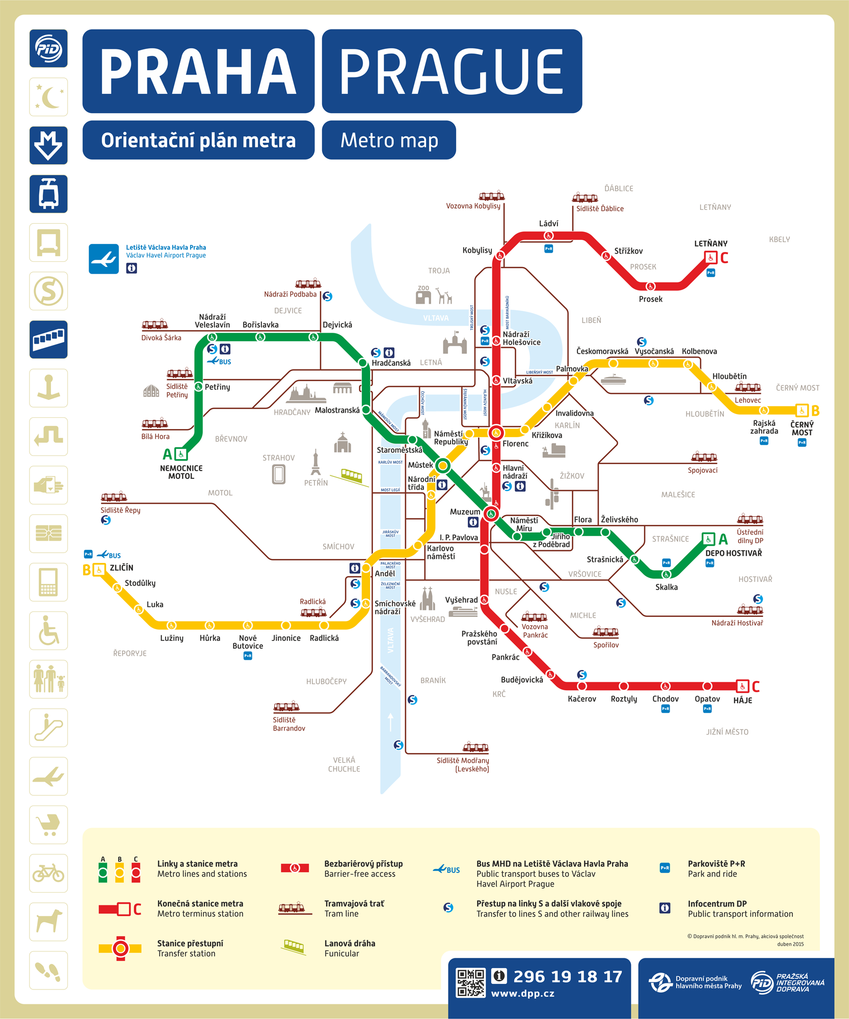 Le plan du métro de Prague