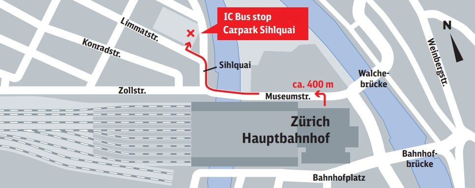 Bus Stop Z 252 Rich Carparkplatz Sihlquai Zurich City